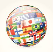 Vector illustration of world flags sphere.