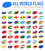 World Flags - Vector Brush Grunge Flat Icons - Part 4 of 4