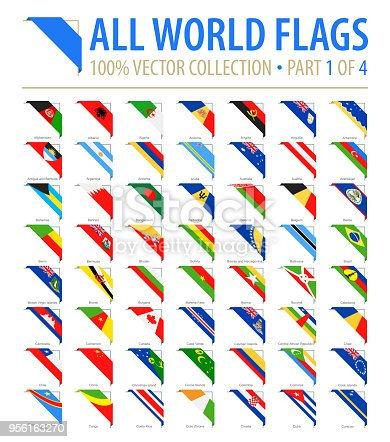 World Flags - Vector Corner Flat Icons - Part 1 of 4