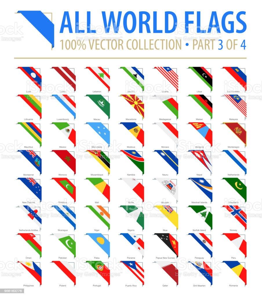 世界のフラグ - ベクトル角フラット アイコン - パート 3 の 4 ベクターアートイラスト