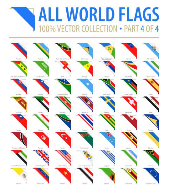 ilustraciones, imágenes clip art, dibujos animados e iconos de stock de mundo banderas - vectores esquina plano iconos - parte 4 de 4 - bandera sueca