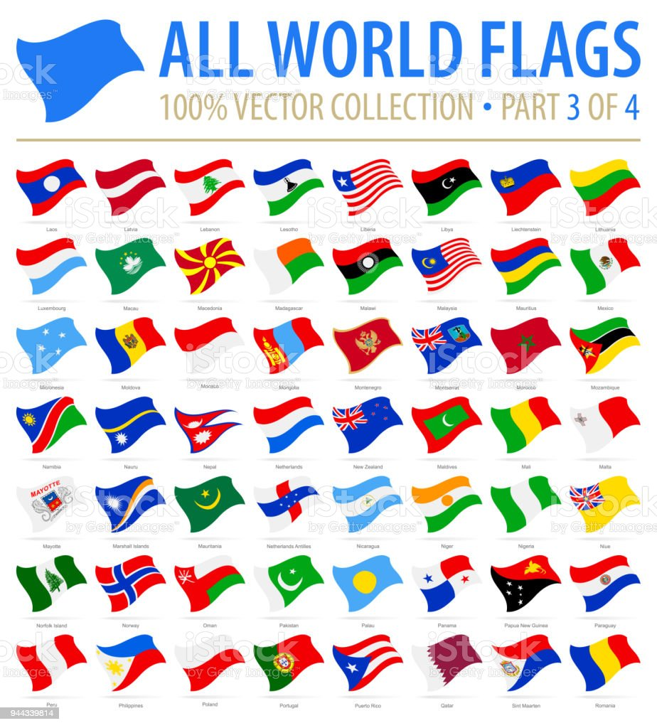 World Flags - Vector Flying Flat Icons - Part 3 of 4 - ilustração de arte vetorial