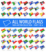 World Flags - Vector Flying Glossy Icons - Part 1 of 4