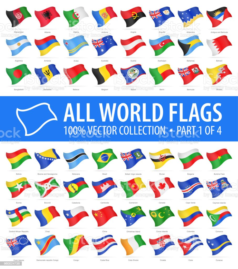 World Flags - Vector Flying Glossy Icons - Part 1 of 4 vector art illustration