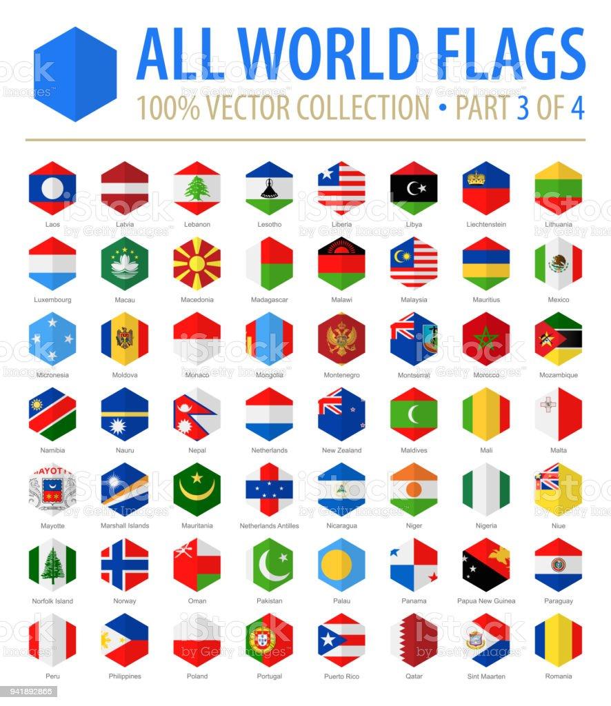 World Flags - Vector Hexagon Flat Icons - Part 3 of 4 vector art illustration