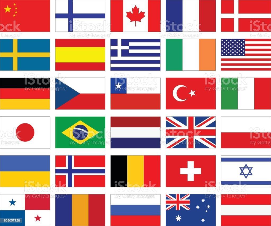 Welt-Flaggen – Vektorgrafik