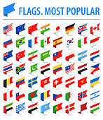 World Flags - Vector Isometric Label Flat Icons - Most Popular
