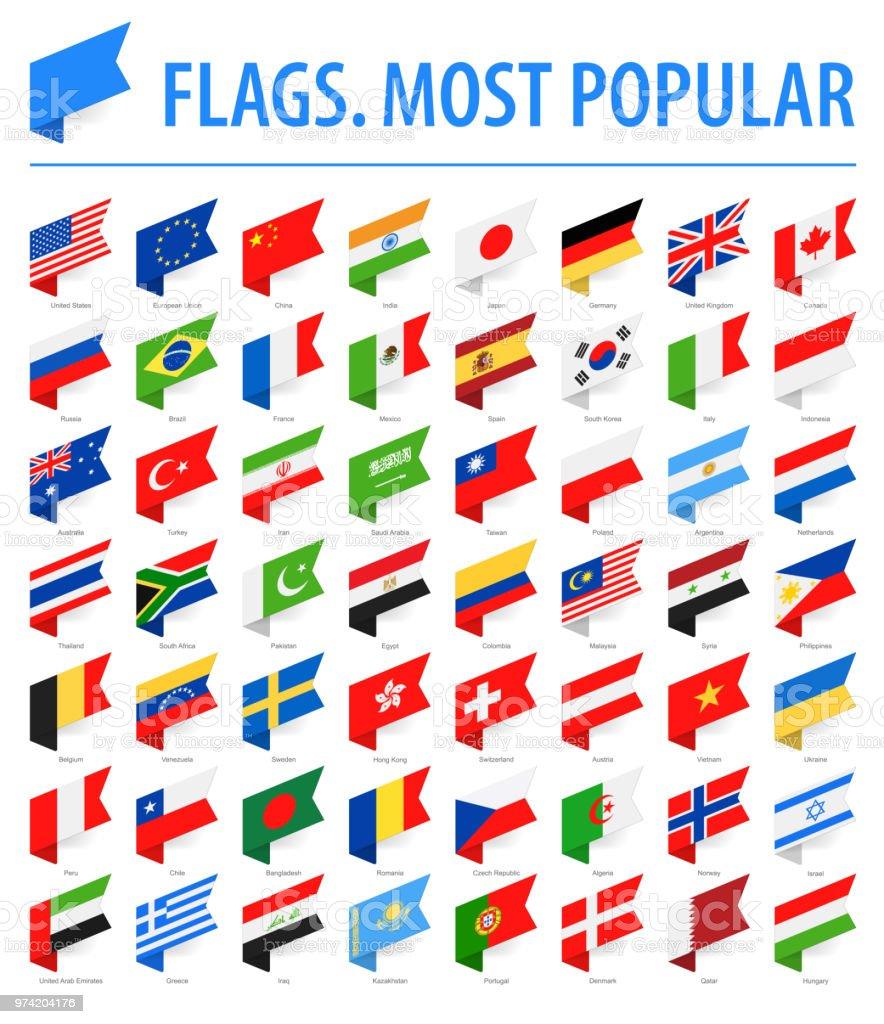 Flaggen der Welt - Vektor isometrische Label flach-Icons - beliebteste – Vektorgrafik