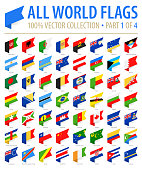 World Flags - Vector Isometric Label Flat Icons - Part 1 of 4