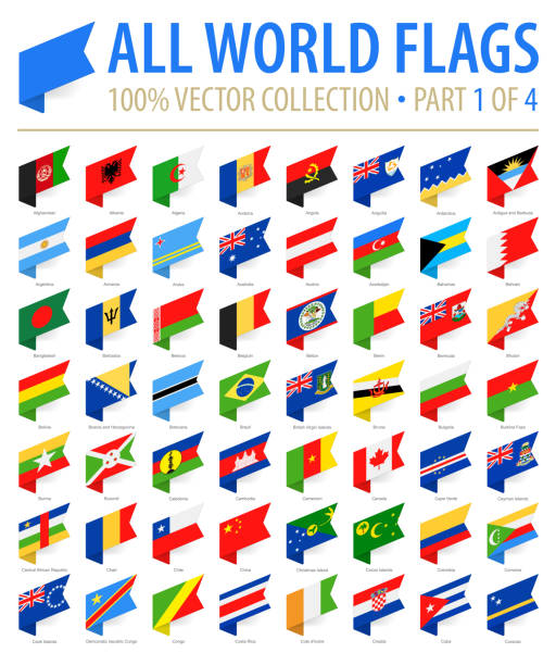 World Flags - Vector Isometric Label Flat Icons - Part 1 of 4 World Flags - Vector Isometric Label Flat Icons - Part 1 of 4 national flag illustrations stock illustrations