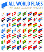 World Flags - Vector Isometric Label Flat Icons - Part 2 of 4