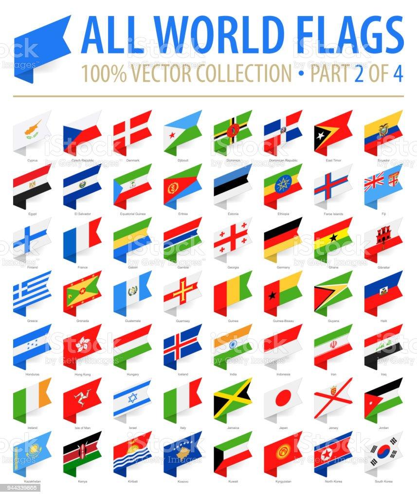 Welt-Flaggen - Vektor isometrische Label flach-Icons - Teil 2 von 4 – Vektorgrafik