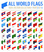 World Flags - Vector Isometric Label Flat Icons - Part 3 of 4