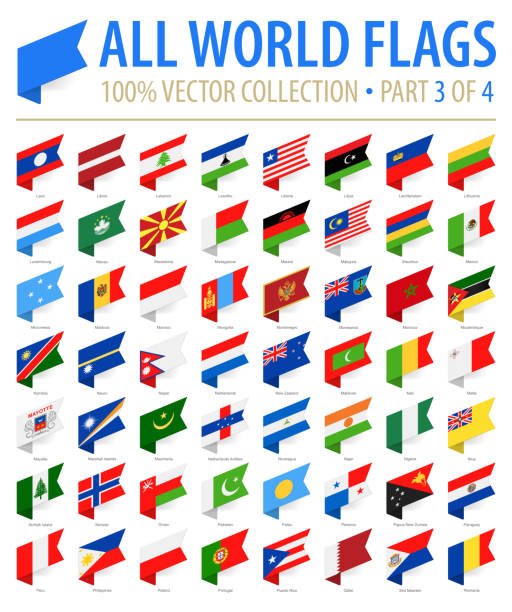 World Flags - Vector Isometric Label Flat Icons - Part 3 of 4 World Flags - Vector Isometric Label Flat Icons - Part 3 of 4 national flag illustrations stock illustrations