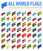 World Flags - Vector Isometric Label Flat Icons - Part 4 of 4