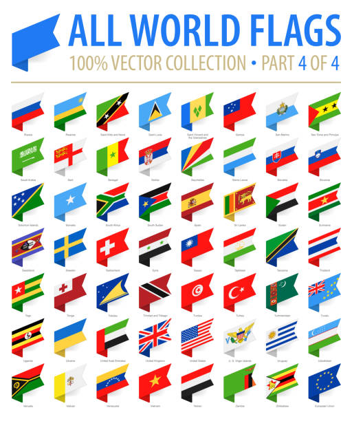 World Flags - Vector Isometric Label Flat Icons - Part 4 of 4 World Flags - Vector Isometric Label Flat Icons - Part 4 of 4 national flag illustrations stock illustrations