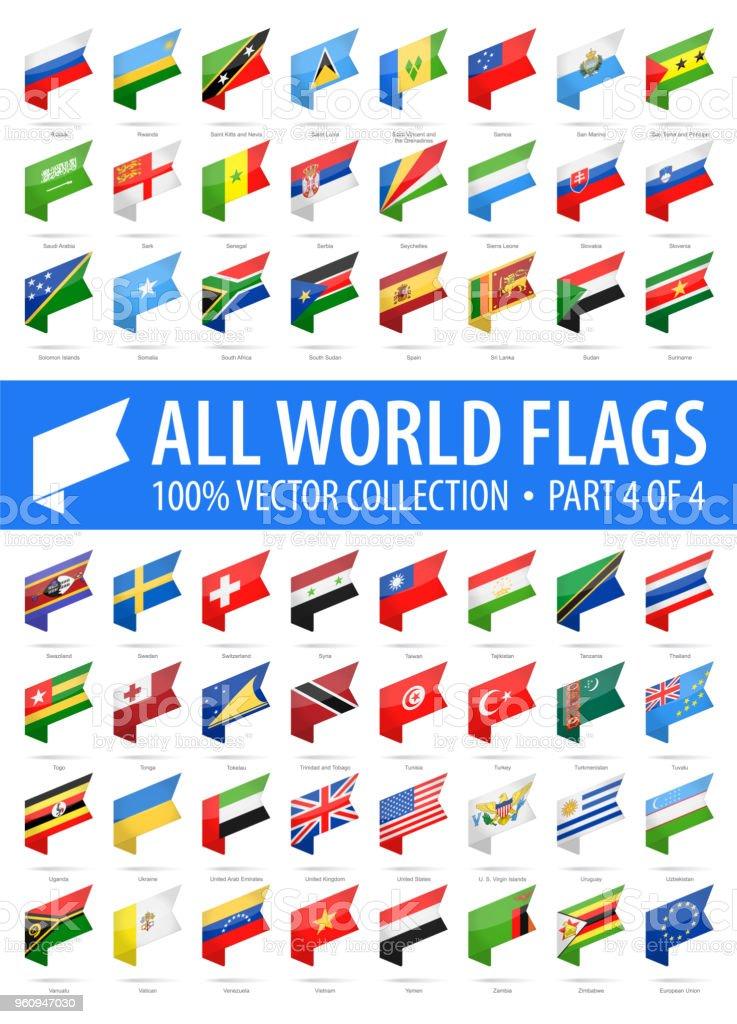 Welt-Flaggen - Vektor isometrische Label glänzende Symbole - Teil 4 von 4 – Vektorgrafik