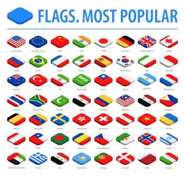 世界のフラグ - ベクトル等尺性丸みを帯びた正方形のフラット アイコン - 最も人気のあります。 - ユニオンジャックの国旗点のイラスト素材/クリップアート素材/マンガ素材/アイコン素材