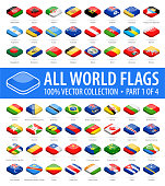 World Flags - Vector Isometric Rounded Square Glossy Icons - Part 1 of 4