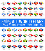 World Flags - Vector Isometric Rounded Square Glossy Icons - Part 2 of 4
