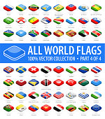 World Flags - Vector Isometric Rounded Square Glossy Icons - Part 4 of 4