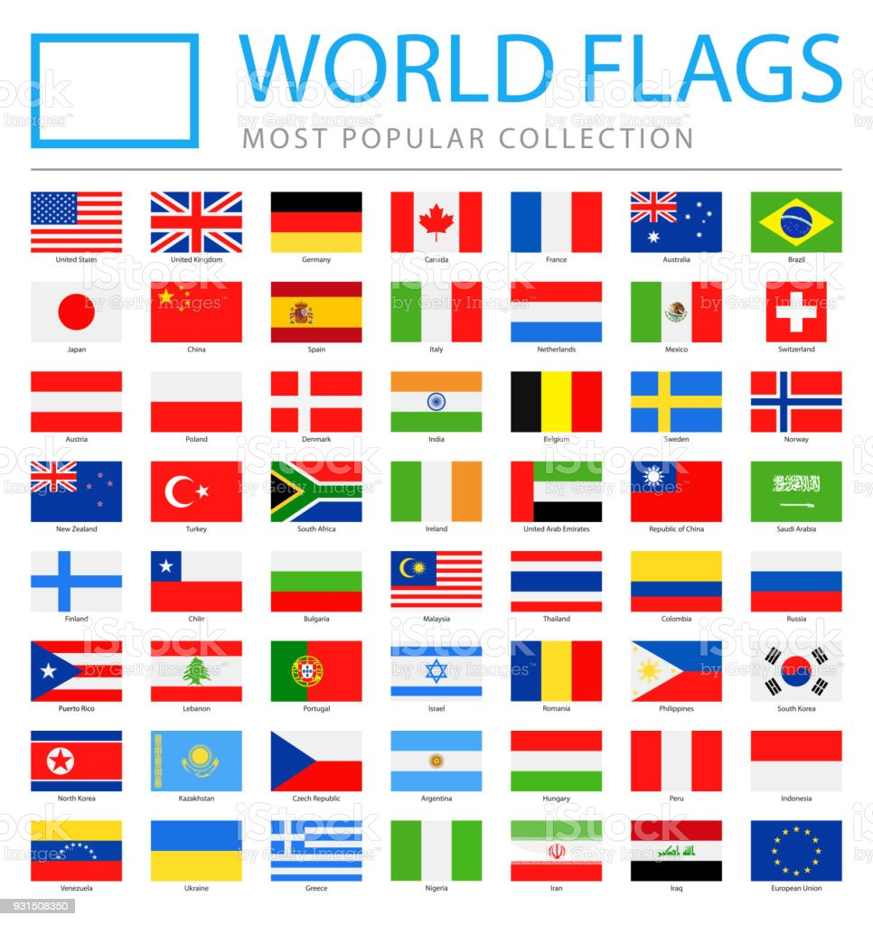 世界のフラグ - ベクトル四角形フラット アイコン - 最も人気のあります。 ベクターアートイラスト