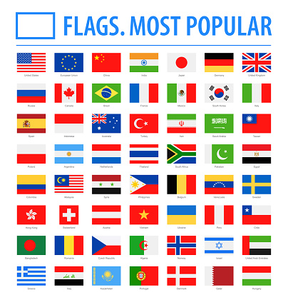 World Flags - Vector Rectangle Flat Icons - Most Popular