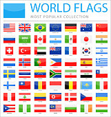 World Flags - Vector Rectangle Glossy Icons - Most Popular