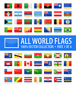 World Flags - Vector Rectangle Glossy Icons - Part 1 of 4