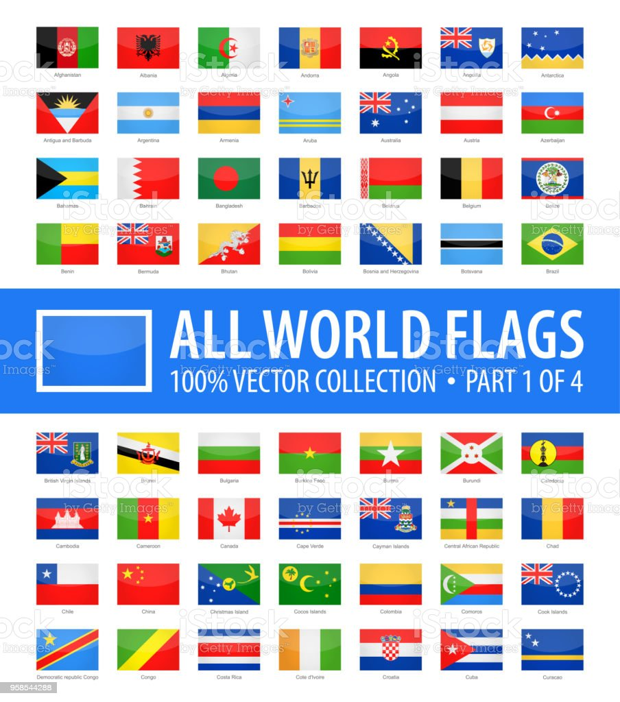Mundo banderas - vectores rectángulo brillante iconos - parte 1 de 4 - ilustración de arte vectorial