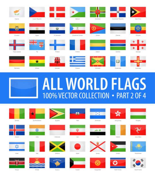 stockillustraties, clipart, cartoons en iconen met wereld vlaggen - vector rechthoek glanzende pictogrammen - deel 2 van 4 - nationale vlag