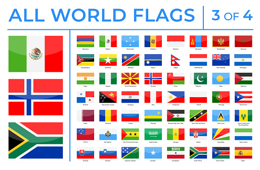 World Flags - Vector Rectangle Glossy Icons - Part 3 of 4