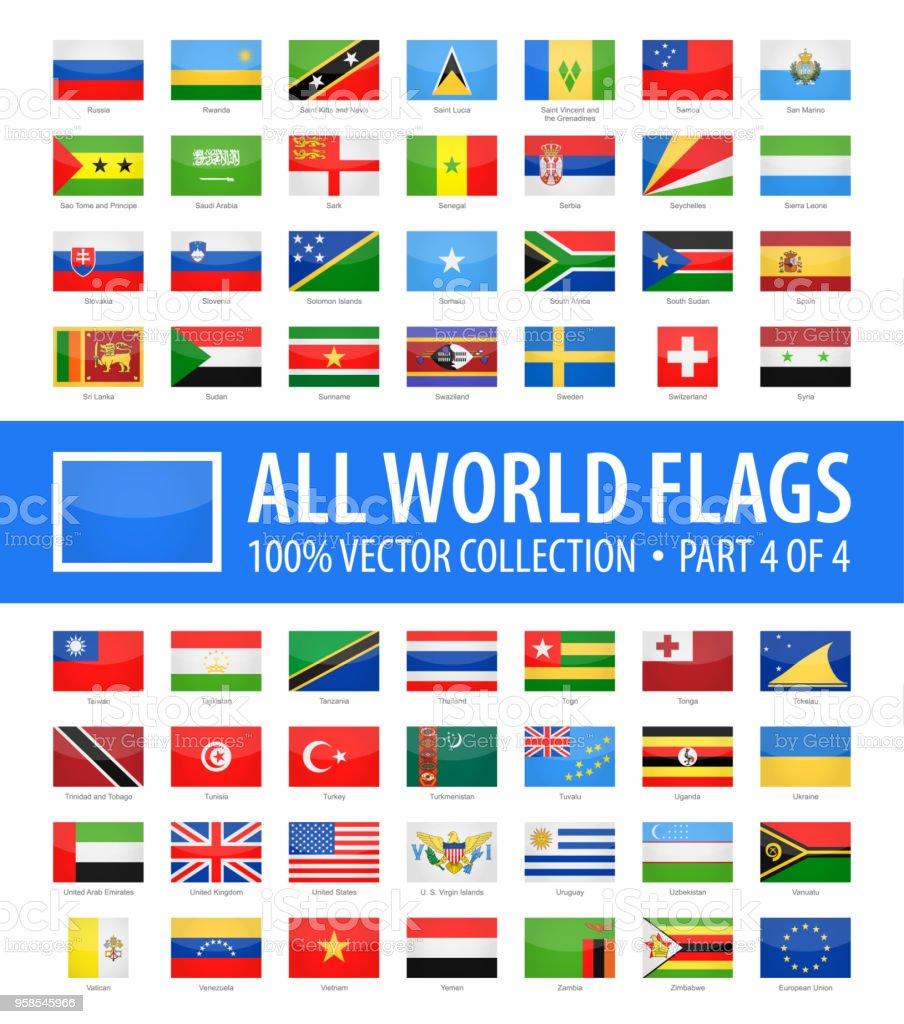 World Flags - Vector Rectangle Glossy Icons - Part 4 of 4 - Grafika wektorowa royalty-free (Alfabet)