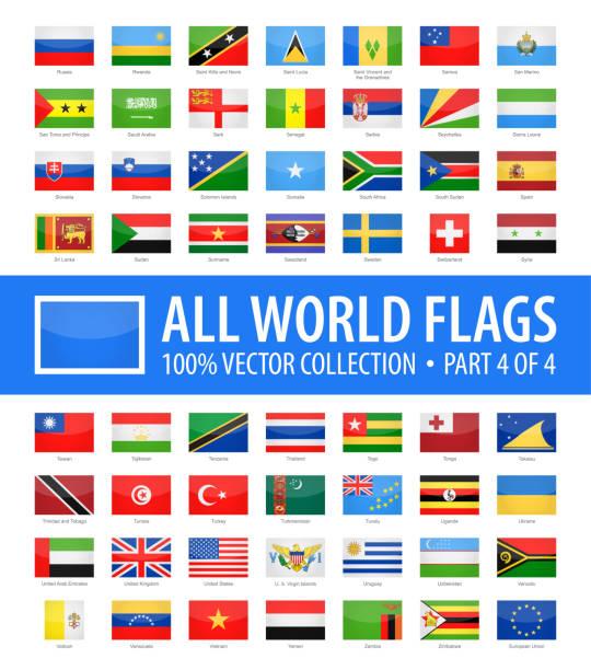 세계 플래그-벡터 사각형 광택 아이콘-제 4 부 4 - uae flag stock illustrations