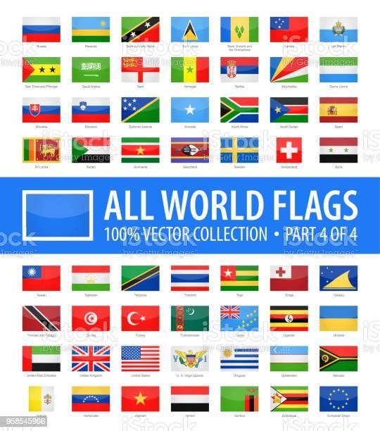 World Flags Vector Rectangle Glossy Icons Part 4 Of 4 - Stockowe grafiki wektorowe i więcej obrazów Alfabet