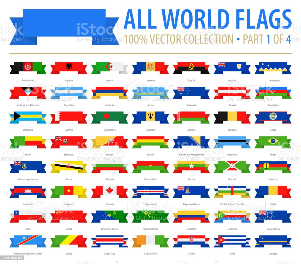 World Flags - Vector Ribbon Flat Icons - Part 1 of 4 vector art illustration