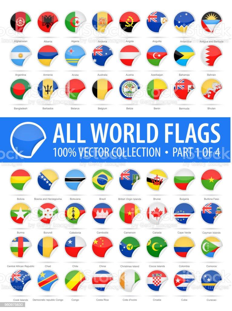 Banderas del mundo - Vector iconos brillantes de esquina redonda - parte 1 de 4 - ilustración de arte vectorial