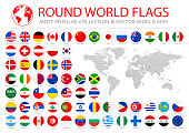 World Flags - Vector Round Flat Icons - Most Popular stock illustration