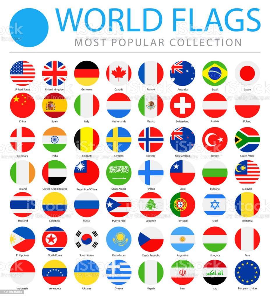 World Flags - Vector Round Flat Icons - Most Popular vector art illustration