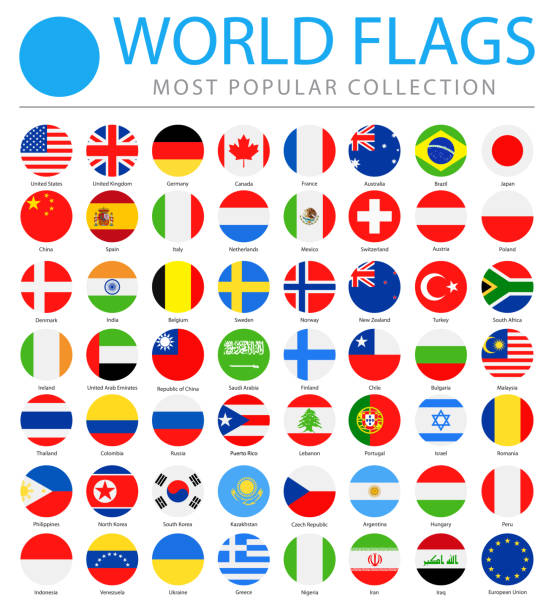 illustrazioni stock, clip art, cartoni animati e icone di tendenza di world flags - vector round flat icons - most popular - turno sportivo
