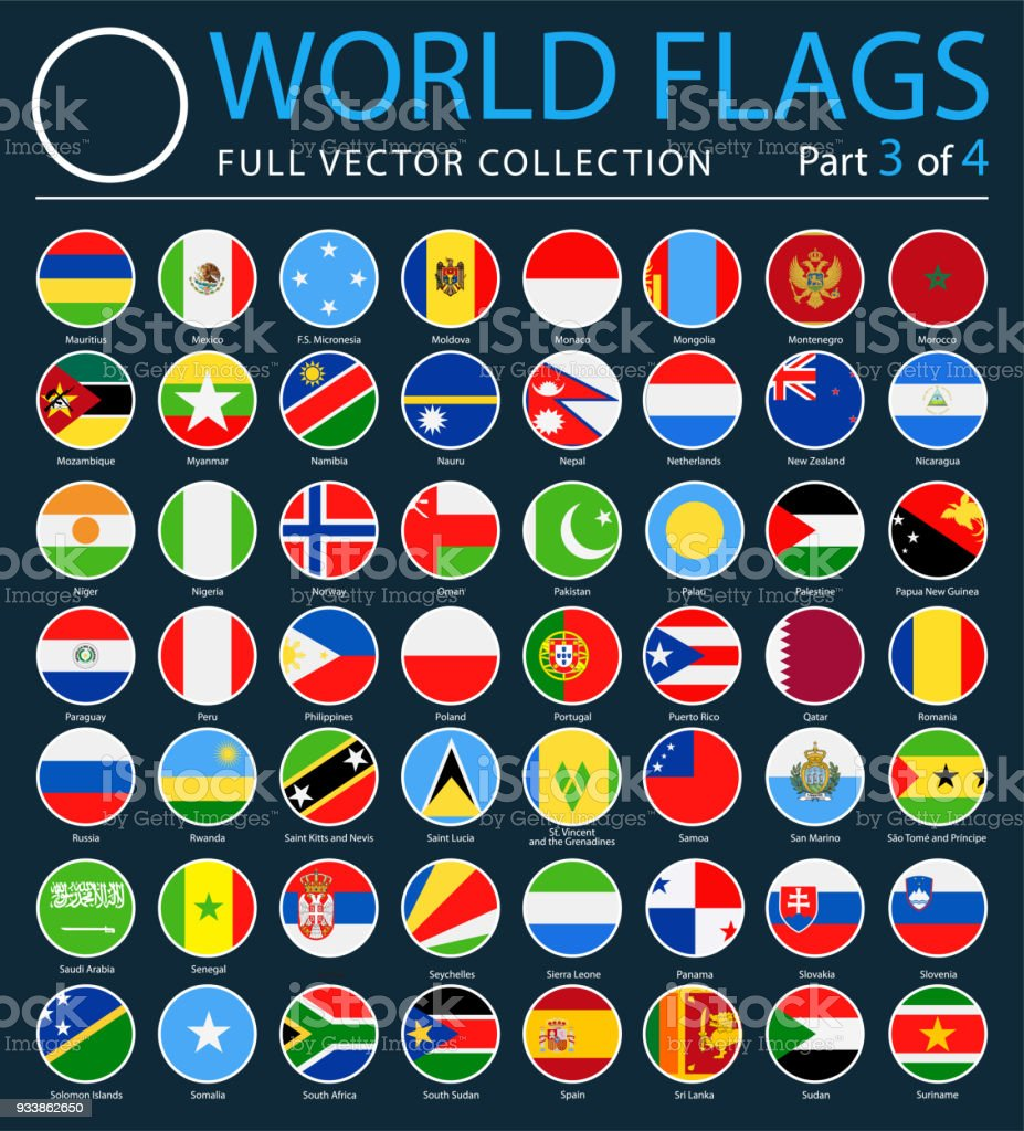 World Flags - Vector Round Flat Icons on Dark Background - Part 3 of 4 vector art illustration