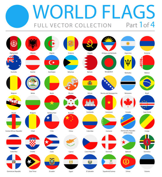 World Flags - Vector Round Flat Icons - Part 1 of 4 vector art illustration