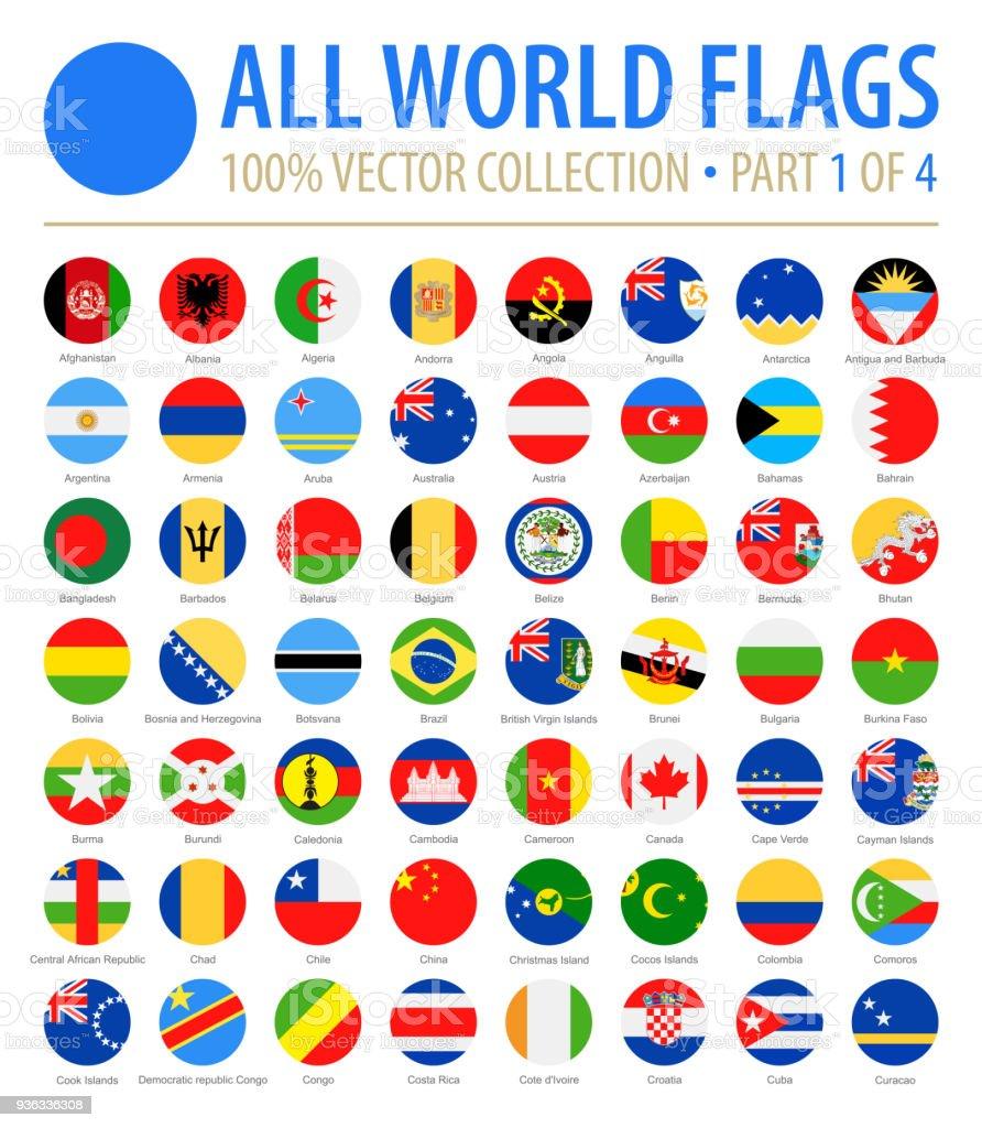 Bandeiras do mundo - Vector redondas planas ícones - parte 1 de 4 - ilustração de arte em vetor