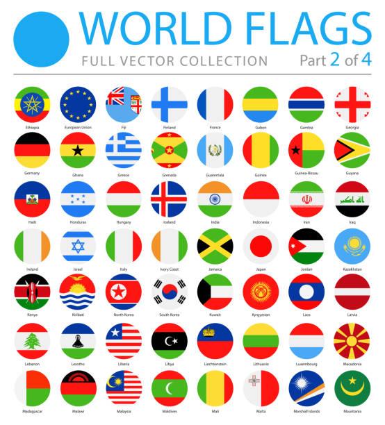 stockillustraties, clipart, cartoons en iconen met vlaggen van de wereld - vector ronde platte icons - deel 2 van 4 - nationale vlag