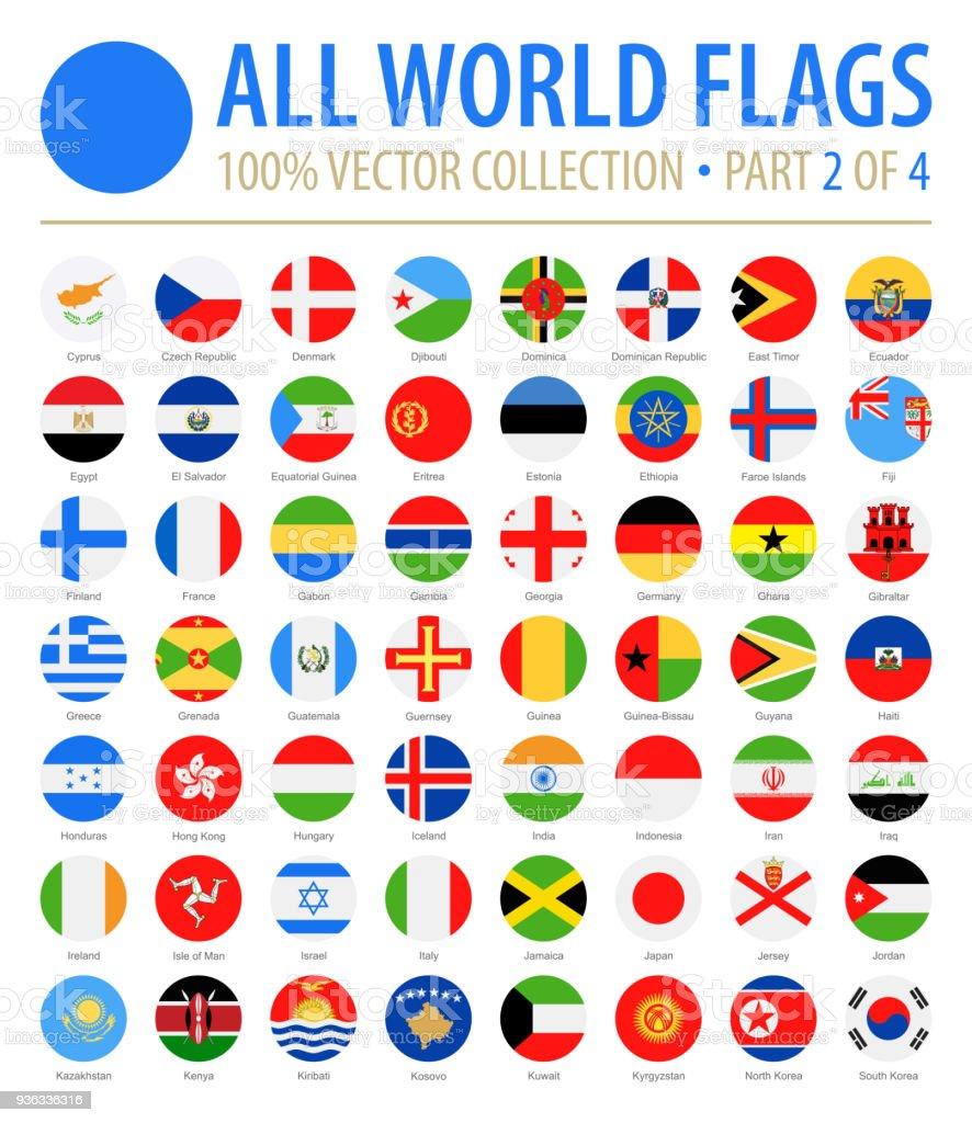 Welt-Flaggen - Vektor-Runde flache Symbole - Teil 2 von 4 – Vektorgrafik