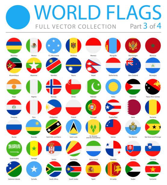 stockillustraties, clipart, cartoons en iconen met vlaggen van de wereld - vector ronde platte icons - deel 3 van 4 - nationale vlag