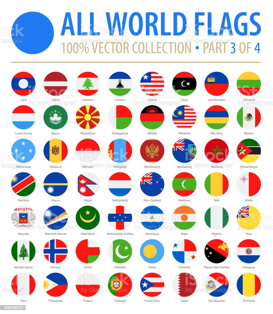 World Flags - Vector Round Flat Icons - Part 3 of 4 vector art illustration