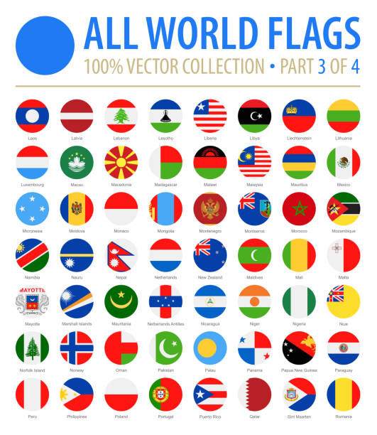 World Flags - Vector Round Flat Icons - Part 3 of 4 World Flags - Vector Round Flat Icons - Part 3 of 4 national flag illustrations stock illustrations