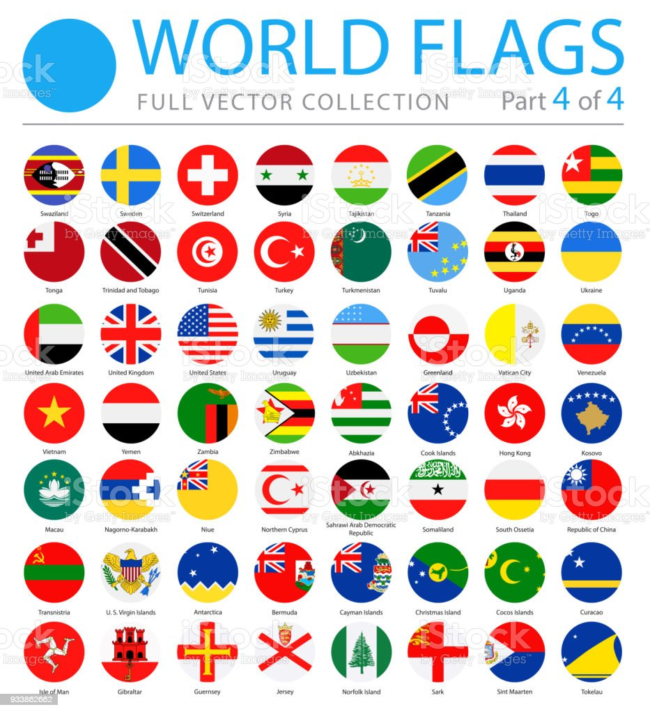 World Flags - Vector Round Flat Icons - Part 4 of 4 vector art illustration