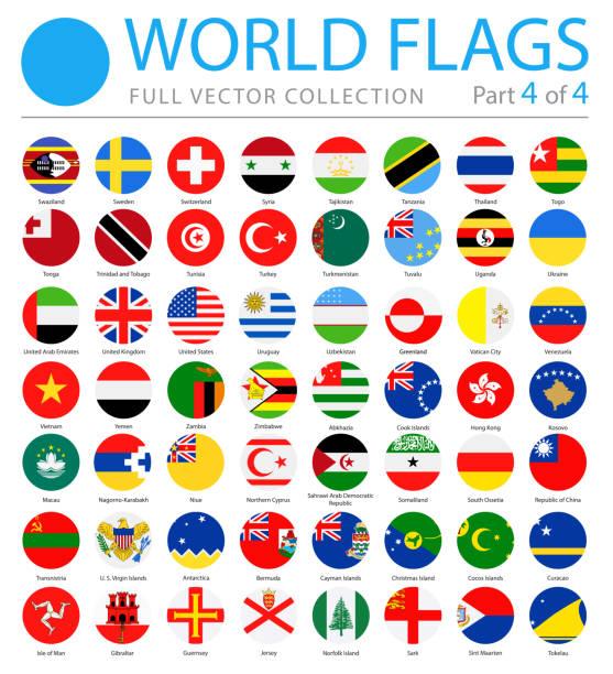 ilustraciones, imágenes clip art, dibujos animados e iconos de stock de banderas del mundo - vector icons planas redondeos - parte 4 de 4 - bandera sueca